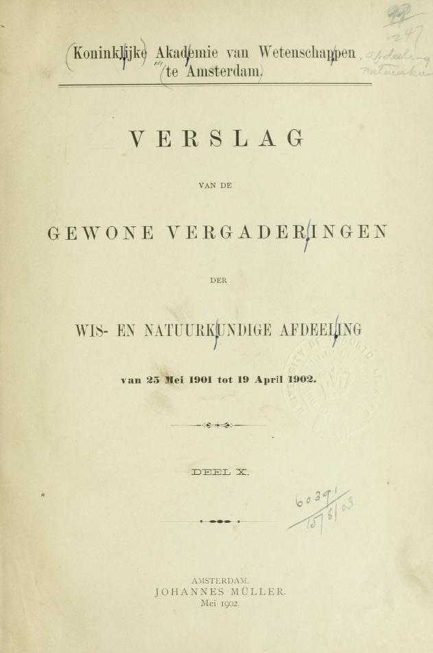 Verslag van de gewone vergaderingen by Akademie van Wetenschappen, Amsterdam.  Afdeeling voor de Wis- en Natuurkundige Wetenschappen